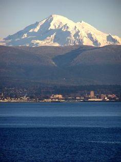 Mount Baker and Bellingham, Washington on Bellingham Bay.