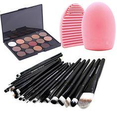 20pcs pinceaux de maquillage mis fard à paupières eyeliner lèvre brosse outil + 15colors mat fard à paupières palette + 1pcs outil de – USD $ 8.49