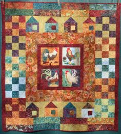 Chicken-Quilt, by Cookie's Creek  Nice way to incorporate roosters