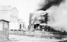 Pipe factory and mill on fire. July 27, 1909. Owensville, MO. Union Pipe Factory began operation in 1905 making Missouri sweet corn cob pipes. The factory at North Second Street and McFadden Avenue employed between 25 and 50 workers at various times.