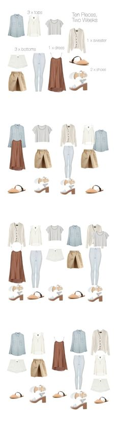 Ten Pieces, Two Weeks. Thought experiment: very minimal packing list for September temperatures (warmish days/coolish nights). Palette of cream, pale blue, and shades of beige. There could of course be quite a few more outfits if the sweater were worn as a top, but here I've only represented one.