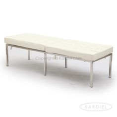 Florence Knoll Style Bench 3 Seater, Cream White Premium Leather |