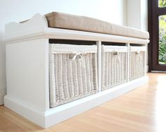 Tetbury Hallway Bench, White Hallway Storage Bench with cushion, Hanging shelf Grey Storage Bench, Storage Bench With Baskets, Hallway Storage Bench, Storage Bench With Cushion, Storage Bench Seating, White Bench, Bench Cushions, Bedroom Storage, Wicker Baskets