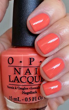 Best Nail Polish Colors of 2019 for a Trendy Manicure Opi Gel Polish, Orange Nail Polish, Opi Nails, Nail Polishes, Opi Nail Colors, Toe Nail Color, Gel Polish Colors, Neon Orange Nails, Coral Nails