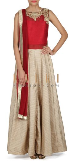 Buy this Cream brown anarkali suit with maroon bodice only on Kalki