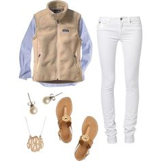 Button Down, vest, white skinny jeans and boots instead of sandals