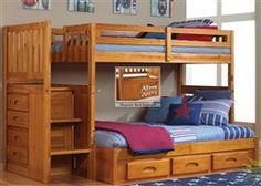 discovery world furniture Honey Twin over Full stair stepper bunk bed 2114-Full kids bedroom furniture bunkbeds with stairs and kids honey s...