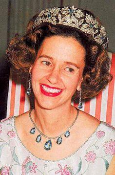 The Spanish Wedding Tiara with aquamarines worn by Queen Fabiola of Belgium, née de Mora y Aragon of The Marquesses de Casa Riera (1928-2014)