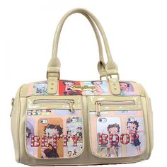 This Official Betty Boop® Double Zipper Front Handbag features: - Multiple images of Betty Boop® with her name in a goldtone nameplate at the top and in gems at the bottom. - Double handle shoulder st