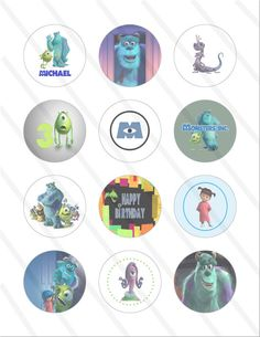 Disney Pixar Monsters Inc Birthday Party 2 inch Cupcake Toppers digital Printables Custom Party Favor Circles
