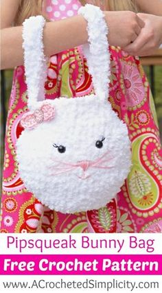 Free Crochet Pattern - Pipsqueak Bunny Bag - Perfect for Easter Egg Hunts! by A Crocheted Simplicity Free crochet pattern for a cute little Pipsqueak Bunny Bag made with Bernat Pipsqueak yarn. Includes a complete photo tutorial for face embroidery. Easter Crochet Patterns, Crochet Purse Patterns, Bag Crochet, Crochet Shell Stitch, Crochet Bunny, Crochet Handbags, Crochet Purses, Crochet Gifts, Crochet For Kids