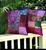 Gypsy Bohemian Pillow Cover - Vintage Sari Fabric - Purple... Getting some of these Beauties too!!
