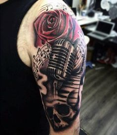 90 Microphone Tattoo Designs For Men - Manly Vocal Ink, Tattoo, Cool Musical Tattoo With Microphone And Roses Mans Arms. Tattoos Musik, Song Tattoos, Bild Tattoos, Finger Tattoos, Body Art Tattoos, Tribal Tattoos, Faith Tattoos, Microphone Tattoo, Guitar Tattoo