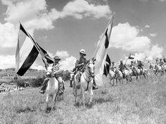 "Carrying Flag of Boer War Days, Modern Afrikaners Costumed as Pioneer Dispatch Riders Arrive on Prancing Arabians at Voortrekker Pageant. From: ""South Africa Enshrines Pioneer Heroes,"" Life magazine, 16 January 1950"