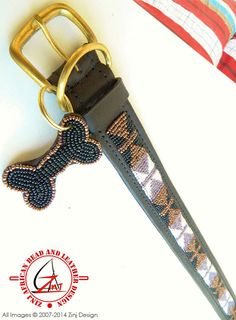 Hand Made Beaded Leather Dog Collar  BAJUNI by ZinjDesign on Etsy, $32.95