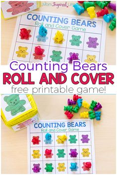 Counting Bears Math Game and Activities- Counting Bears Math Game and Activities Your kids will love this fun counting bears math game! There are several ways to play and a variety of math skills you can develop with this free printable math game. Preschool Colors, Free Preschool, Preschool Learning, Kindergarten Math, Preschool Crafts, Fun Learning, Preschool Activities, Math Games For Preschoolers, Bears Preschool