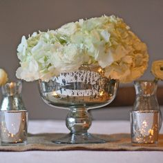 Antique Silver Footed Bowl - Wedding Centrepiece - The Wedding of My Dreams