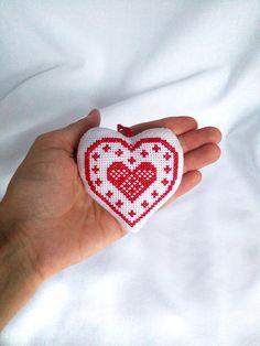 Vyšívané srdce Červené biele vianočné diy Vianočný strom ornament