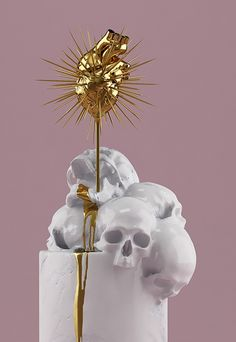 Decadent gilded skulls explore the darker side of classical sculpture