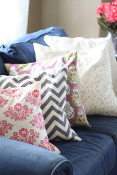 Pillow ideas for our denim couch!