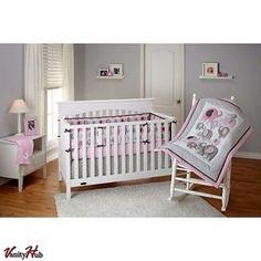 Little Bedding NoJo Elephant Time Modern 4 Piece Crib Bedding Set Baby Girl Pink