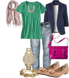 Green, Jeans, Navy Blue, Gold, Pink Outfit Lilly's Style: Chicago trip outfit #1