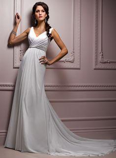 Sleeveless A-line Floor-length wedding dress; love