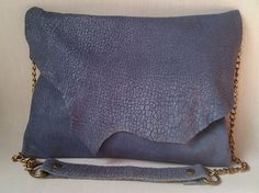 Light Blue Embossed Leather Shoulder Bag with Natural Edge Flap by Mika Mika Bags