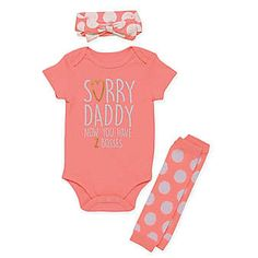 Baby Clothing Baby Starters®️ 'Sorry Daddy' Bodysuit, Leg Warmer, and Headband Set in Pink. Baby Clothing Source : Baby Starters®️ 'Sorry Daddy' Bodysuit, Leg Warmer, and Headband Cute Baby Girl Outfits, Cute Baby Clothes, Kids Outfits, Baby Girl Clothes Daddy, Daddys Girl Baby, Country Baby Clothes, Cute Baby Stuff, Baby Girl Shirts, Baby Leg Warmers