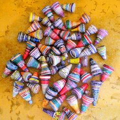 Cone shape paper beads