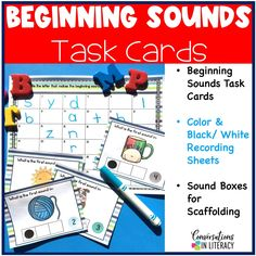 Use these task cards for isolating beginning sounds during your phonics word work time! Great activities for isolating specific sounds in words. #phonics #phonemicawareness #kindergarten #firstgrade #elementary #literacycenters #conversationsinliteracy kindergarten, 1st grade, 2nd grade