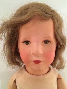 Kaethe-Kruse-Puppe-Stoffkopf-Bemalt-Sehr-Alt-52-Cm-Tolles-Gesichtchen
