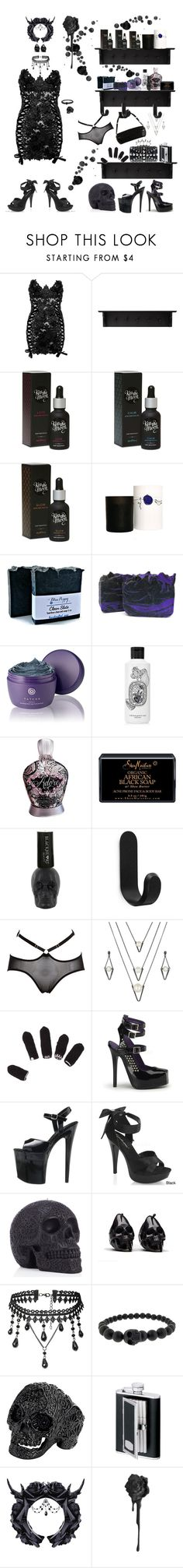 """Lux Lady Shoppe"" by blackmagicmomma ❤ liked on Polyvore featuring WALL, Kiss the Moon, Morgan Lane, Tatcha, Diptyque, SheaMoisture, Hot Topic, Normann Copenhagen, Atsuko Kudo and Bordelle"