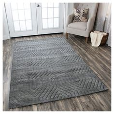 Rizzy Home Technique Collection Hand-Loomed 100% Wool Area Rug, Dark Grey, Durable
