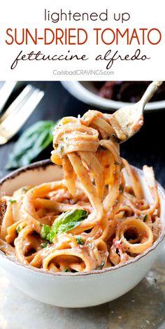 20 Minute Creamy, Lightened Up Sun-dried Tomato Fettuccine Alfredo ...