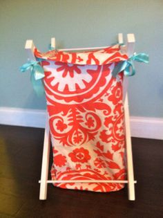 Custom Hamper Liner in Aqua and Coral Suzani by TushiesTantrumsInc, $50.00