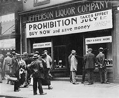 Prohibition era - A nationwide constitutional ban on the production, importation, transportation and sale of alcoholic beverages that remained in place from 1920 to 1933.
