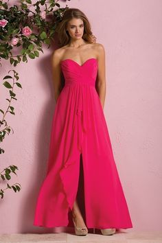 This B2 pink bridesmaid dress is a chic take on a quintessential classic. This Poly Chiffon gown is available in over 50 colors and features the a classic strapless sweetheart neckline and A-line skirt that is spiced up with a ruched bodice, fun layered fabric on the front of the skirt and a sassy slit. B173053