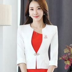 37d4967c53d HanOrange Single Button Office Lady Plus Size OL Traditional Classical Half Sleeve  Female Women Blazer Jacket