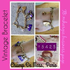 VINTAGE BRACELET   Champ de Mars   Design: Eiffel Tower, amour heart, blue bags and bike Size: Fits All Price: Php 450  SMS / Viber : +639176085762 WeChat: Mhargic8 Email: mhargic.business@gmail.com PM: www.facebook.com/mhargic.business.page