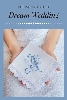Personalized Monogrammed handkerchief. Great idea for Bridal Party gifts Wedding Gifts For Parents, Best Wedding Gifts, Bridal Gifts, Bridal Shower Favours, Wedding Handkerchief, Bachelorette Party Decorations, Something Blue, Dream Wedding, Spring Wedding
