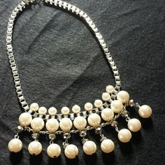 Silver & Pearl Statement Necklace Silver colored box chain with 3 rows of pearls statement necklace. Jewelry Necklaces