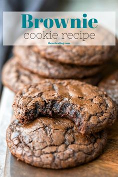 Jan 2020 - This brownie cookie recipe is all of the good parts of a brownie- crackly crust, fudgy middles, chewy edges, & intense chocolate flavor -in one easy, homemade cookie recipe. One of the best cookie recipes around! Best Cookie Recipes, Brownie Recipes, Sweet Recipes, Brownie Ideas, Homemade Cookie Recipe, Homemade Brownies, Simple Cookie Recipe, Best Brownie Recipe, Cookie Flavors