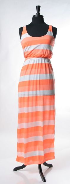 <3 neon right now!  Neon Stripes Maxi Dress