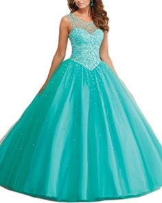 Mollybridal Tulle Long Pearls Sheer Neckline Ball Gown Quinceanera Prom Dresses Aqua 22 Mollybridal