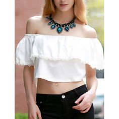9.81$  Buy now - http://di4no.justgood.pw/go.php?t=176070303 - Sweet White Off-The-Shoulder Lace Hem Crop Top For Women 9.81$