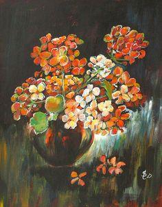 Black Vase   Acrylic Still Life with Flowers   Original Acrylic Painting   Dora Stork   Encaustic Artist Black Vase, Stork, Acrylic Paintings, Still Life, Floral, Artist, Flowers, Idea Paint, Artists
