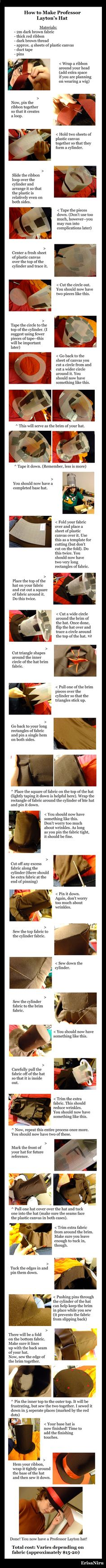 An amazingly detailed Professor Layton hat tutorial. This is awesome! I need to make this sometime...