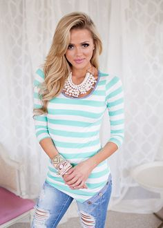 Online boutique. Best outfits. Charmed with Stripes Top in Mint - Modern Vintage Boutique