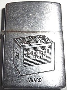 Mobil Oil Co. Premier Battery Zippo Lighter